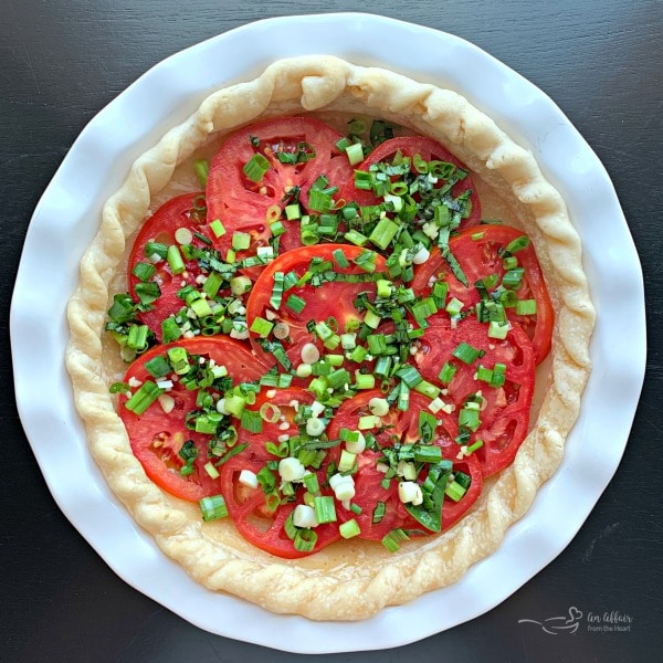 Tomato Pie with onions and basil