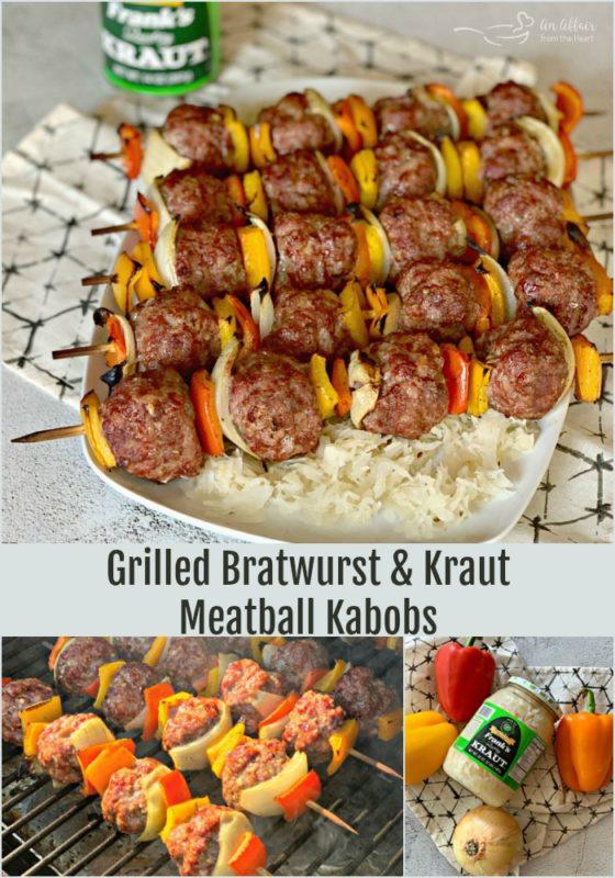 Grilled Bratwurst & Kraut Meatball Kabobs