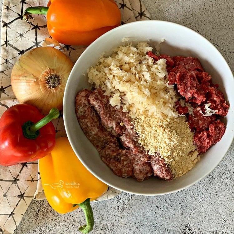 prep for Grilled Bratwurst & Kraut Meatball Kabobs