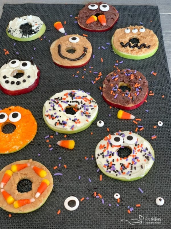 Apple Donut Monsters all close up