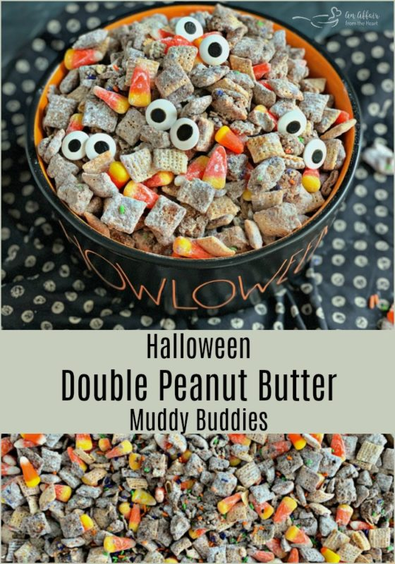 Halloween Double Peanut Butter Muddy Buddies - An Affair from the Heart