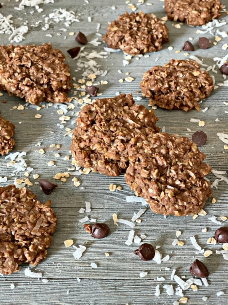 Chocolate Oatmeal Coconut Cookies on a table