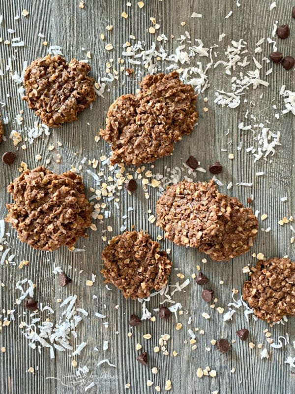 Chocolate Oatmeal Coconut Cookies top view
