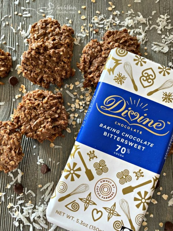 Chocolate Oatmeal Coconut Cookies - with Divine Chocolate