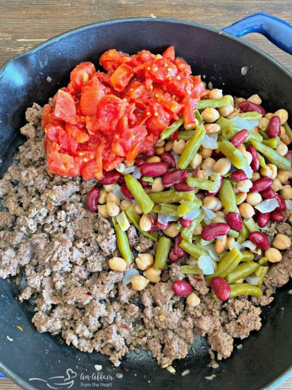 Prep five bean beef and noodle casserole