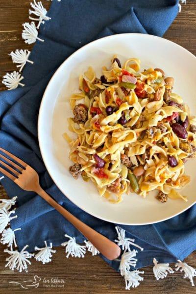 Five Bean Ground Beef & Noodle Skillet Casserole