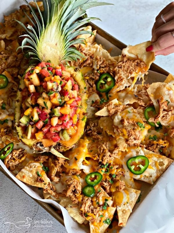 Tropical Chicken Nachos with Tropical Salsa