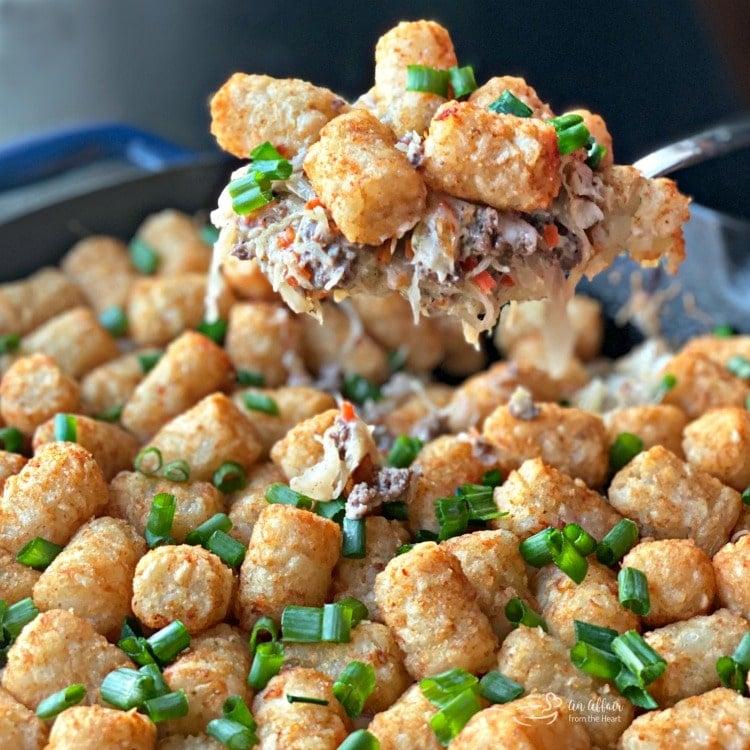Beef & Kraut Tater Tot Casserole spoonful