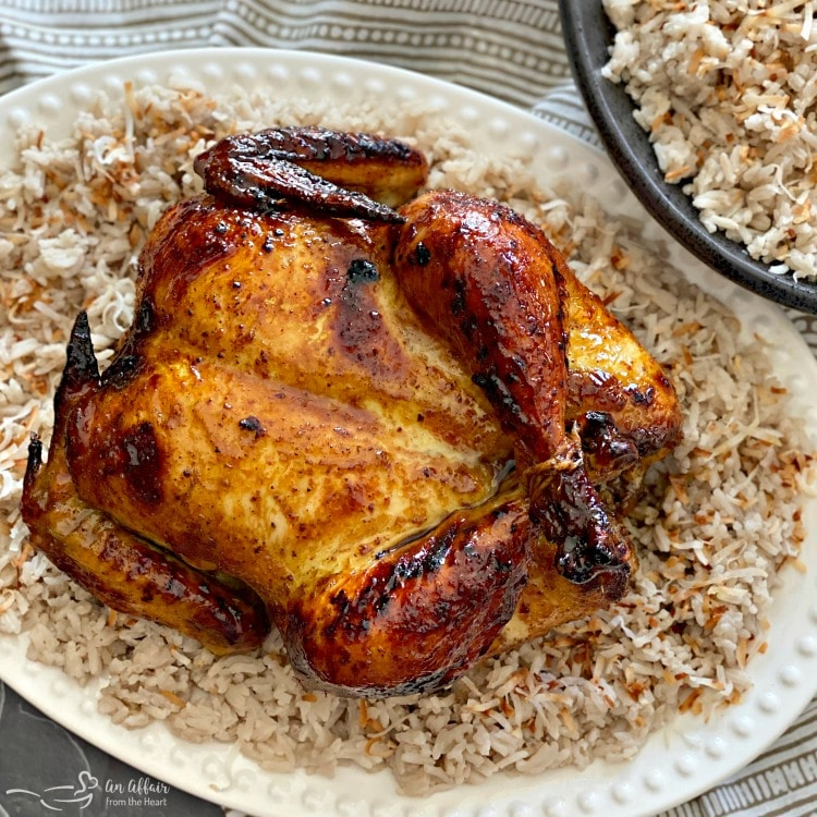 Jamaican Jerk Glazed Chicken over Sweet Coconut Rice square