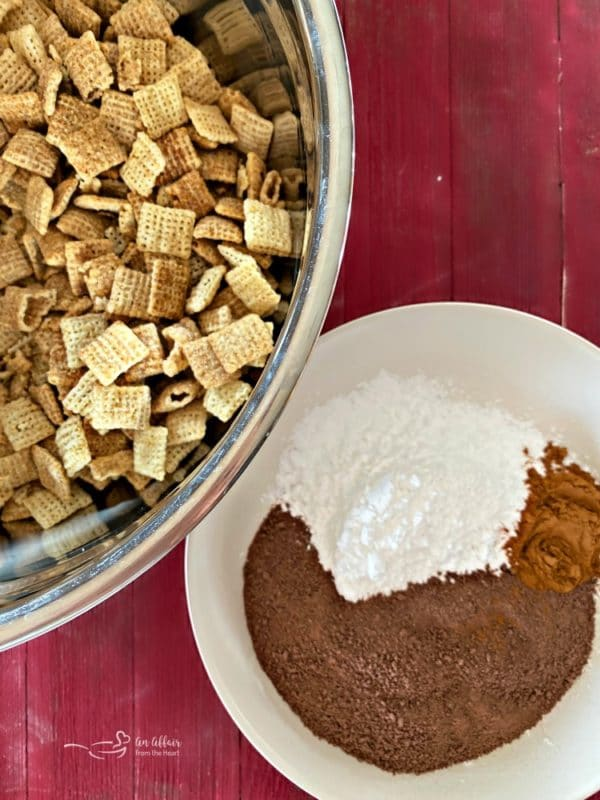 Mexican Hot Chocolate Chex Mix prep