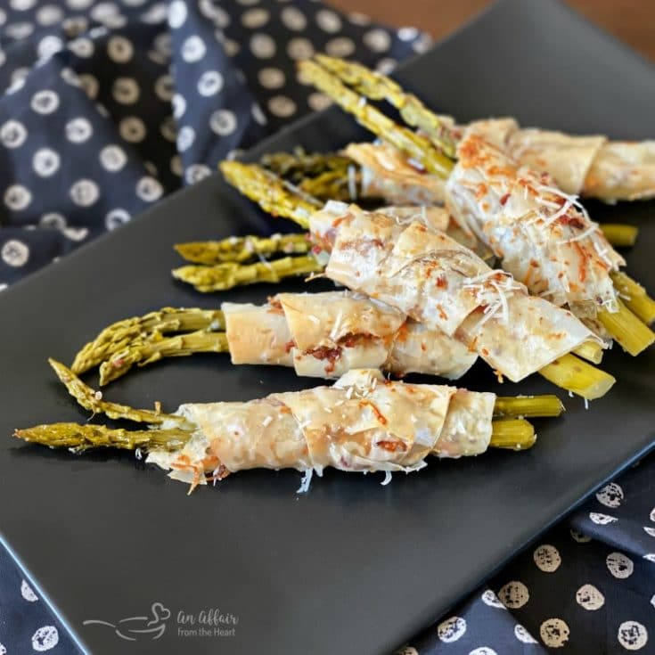Bacon & Cheese Phyllo Wrapped Pickled Asparagus sq