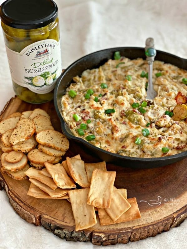 Cheesy Brussels Sprouts Dip with Paisley Farm Dilled Brussels Sprouts