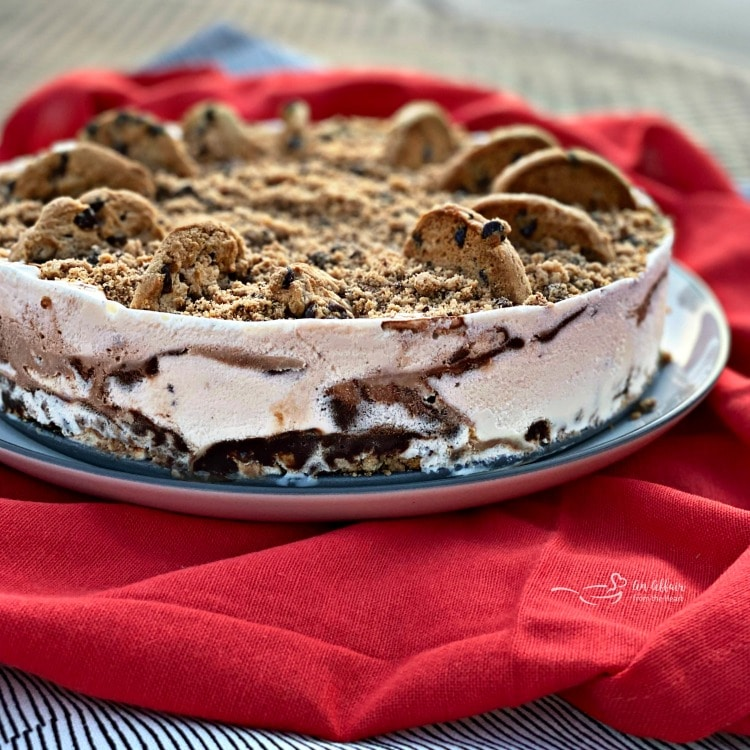 Side view of the chocolate chip cookie dough ice cream cake