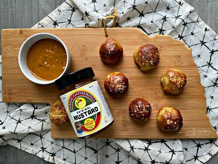 Nebraska Herbal Gatherings Mustard with Sausage Pretzel Bombs