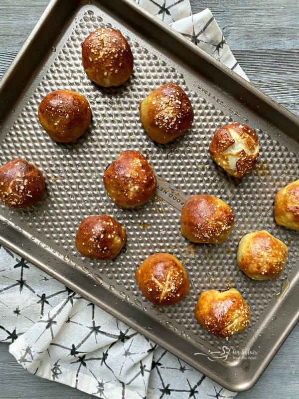 Sausage Pretzel Bombs baked on cookie sheet