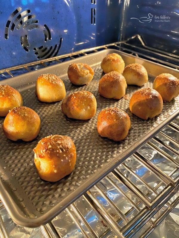 Sausage Pretzel Bombs baking