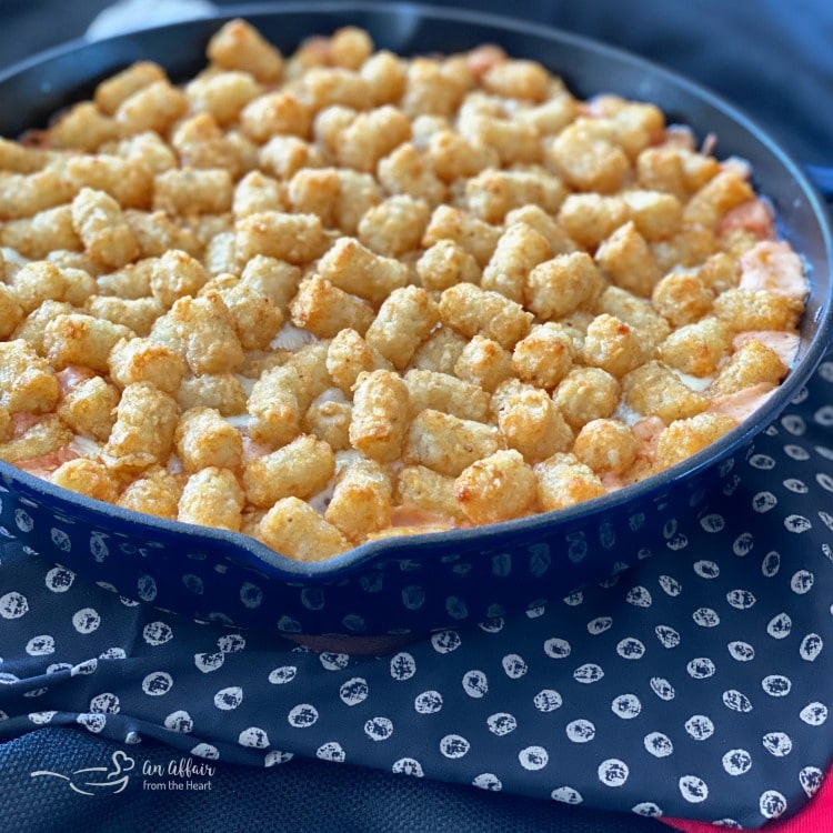 Spicy Tater Tot Casserole with Sausage & Mushrooms prep baked with tots