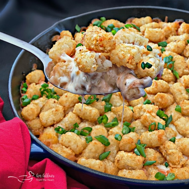 Spicy Tater Tot Casserole with Sausage & Mushrooms spoonful