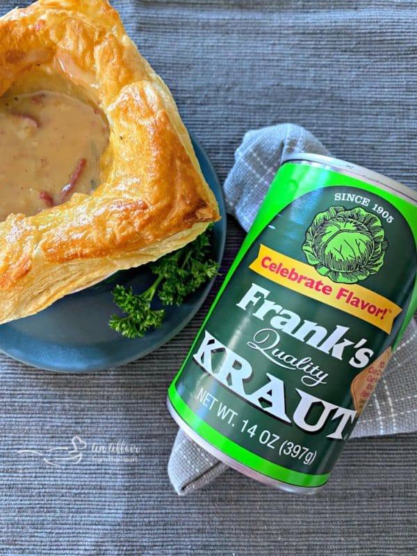 Reuben Pot Pies opened with Frank's Kraut