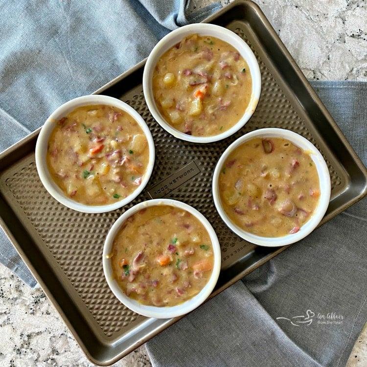 Reuben Pot Pies filling the ramekins