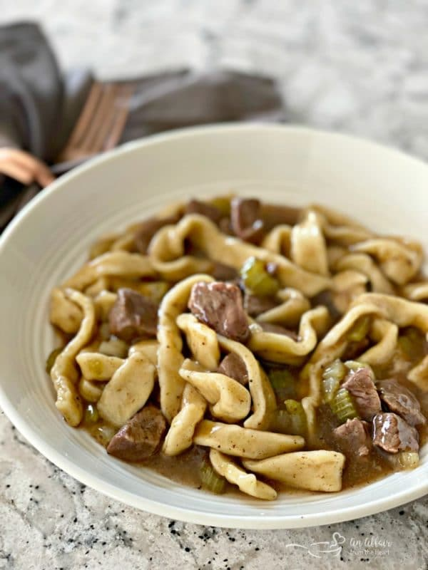 Beef & Noodles in a white bowl