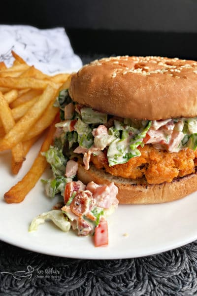 Blackened Salmon Burgers with BLT Slaw