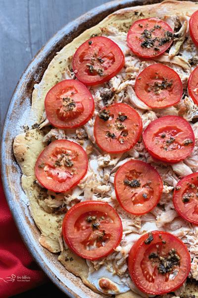 Simple Chicken Pesto Pizza
