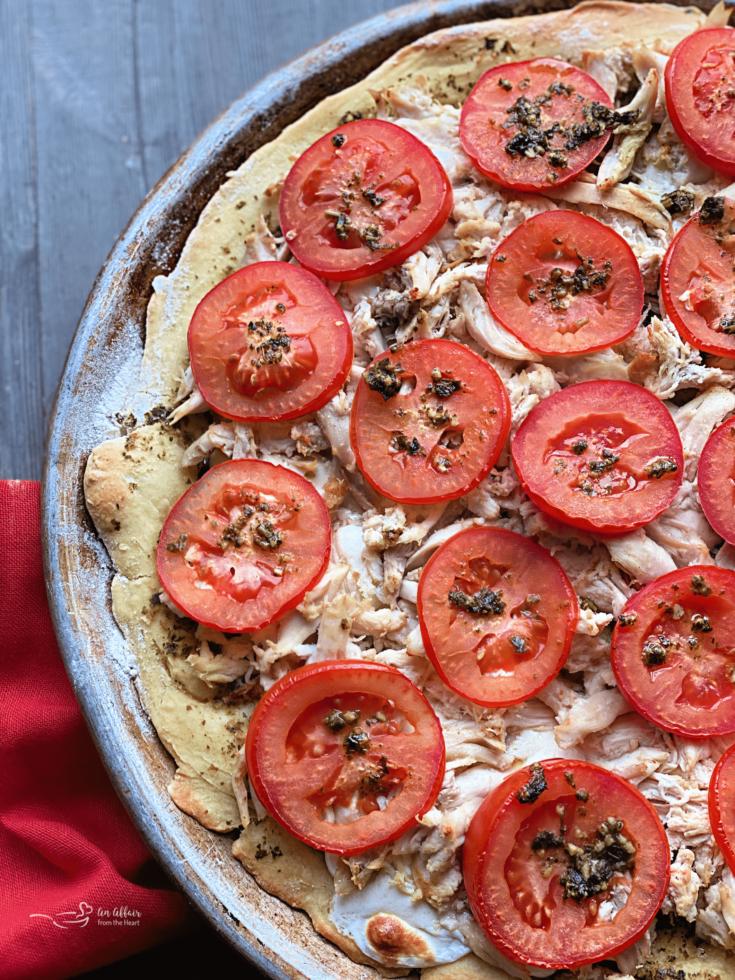 Chicken Pesto pizza up close