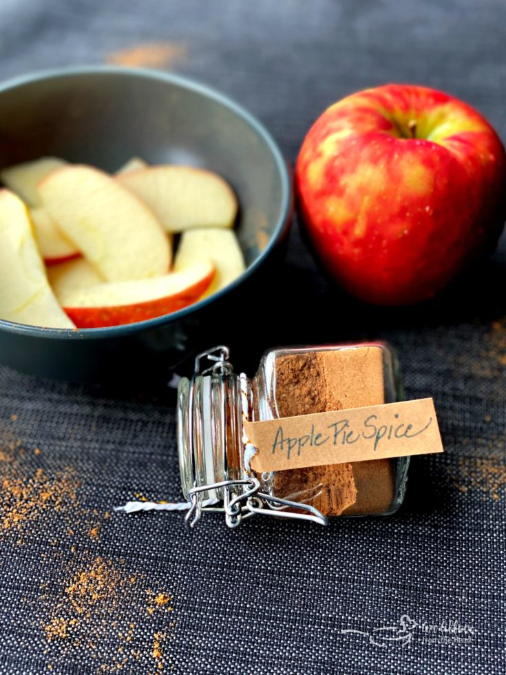 Apple Pie Spice in a jar with tag