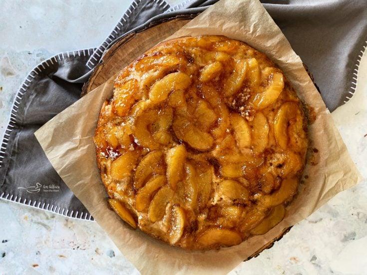 Apple Upside Down Cake on wooden platter