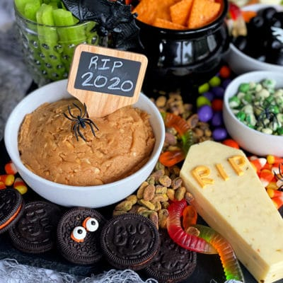 Sweet & Savory Halloween Snack Board with Peanut Butter Dip #HalloweenTreatsWeek