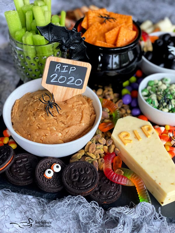 Side view of Halloween snack board