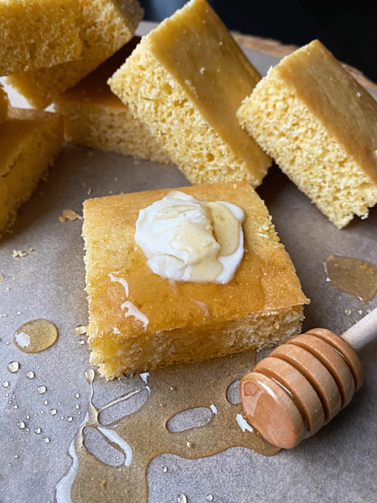 Honey Cornbread with honey drizzle