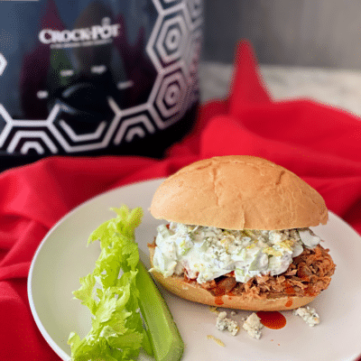 Slow Cooker Buffalo Pulled Pork with Celery Slaw