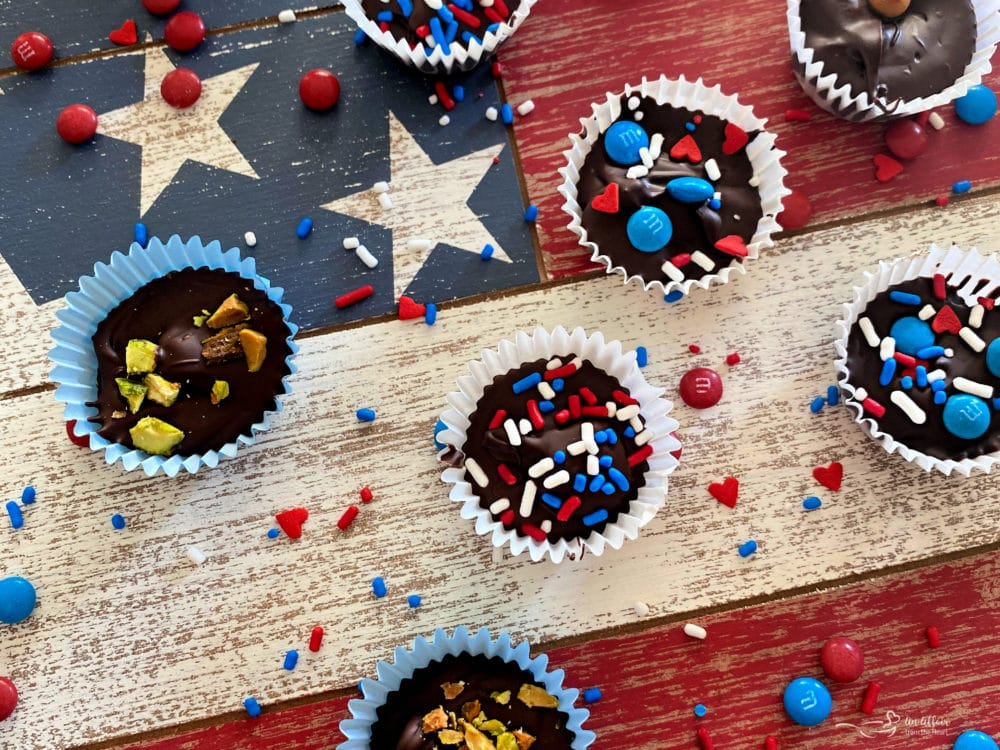 Veterans Day Homemade Chocolate Candies Red white and blue flag background
