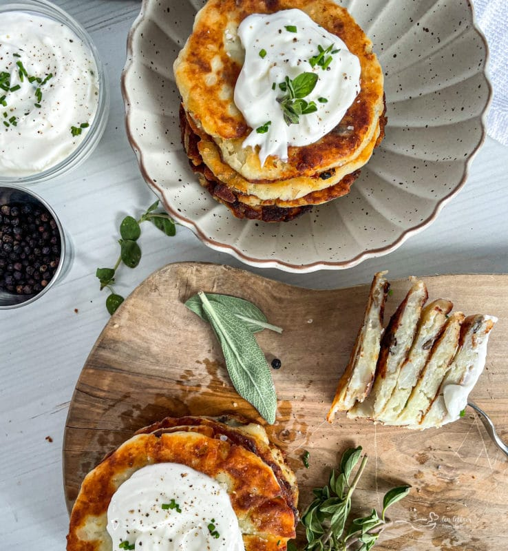 Mashed Potato Cakes with wooden board and white bowl