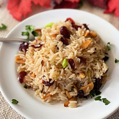 Rice Pilaf with Dried Cranberries and Slivered Almonds