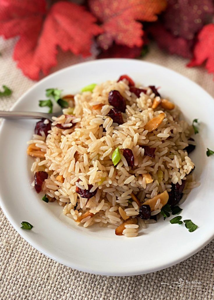 Rice Pilaf with Cranberries and Almonds white bowl