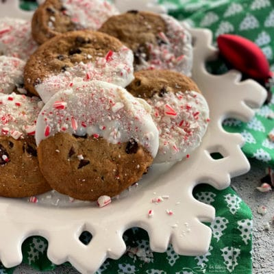 Peppermint Dipped Chocolate Chip Cookies