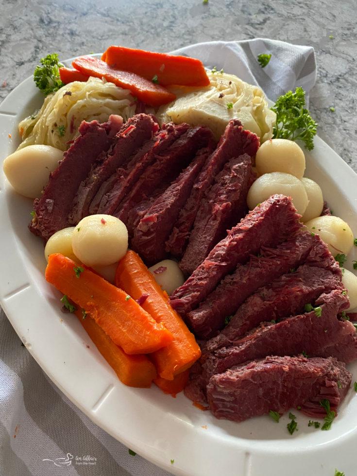 Instant Pot Corned Beef & Cabbage Dinner white platter