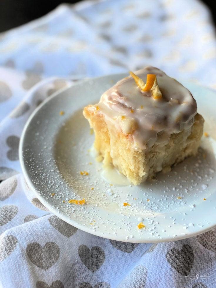 One lemon sweet roll on plate