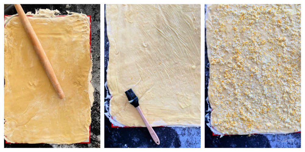 Top view of lemon sweet rolls rolled out dough