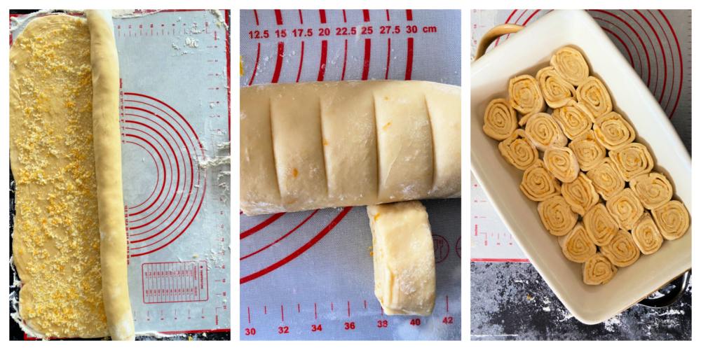 Top view of lemon rolls being cut into individual rolls