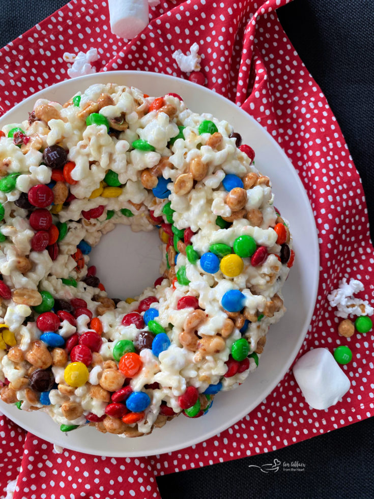Popcorn Cake top view red and white polka dot background