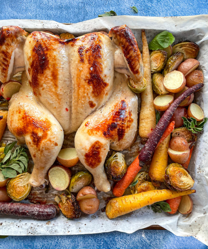 Top view of spatchcock chicken on baking sheet with carrots, potatoes, and Brussels sprouts