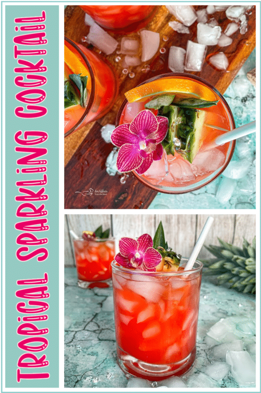 TROPICAL SPARKLING COCKTAIL RECIPE pin image