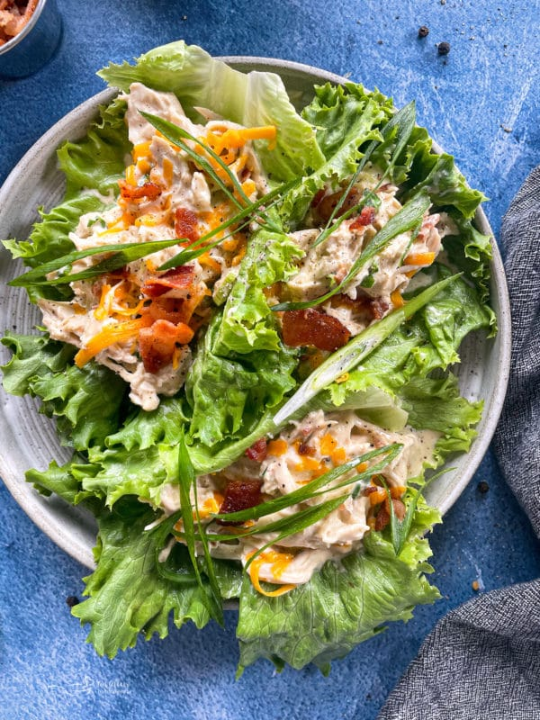 Instant Pot crack chicken on top of lettuce