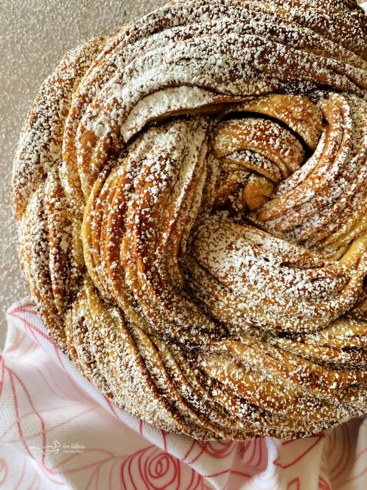 Top view of Russian rose bread with powdered sugar