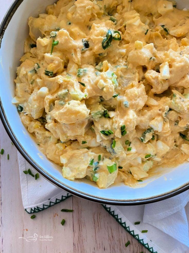 Dorothy's Homemade Potato Salad white bowl light background