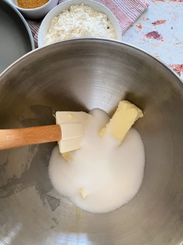 Top view of sugar and butter in bowl